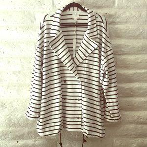 NWT Caslon plus size Ivory/Black striped sweater